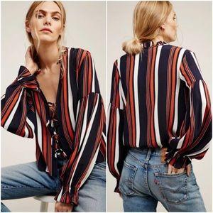 Tularosa Nala Striped tie-front blouse Size S